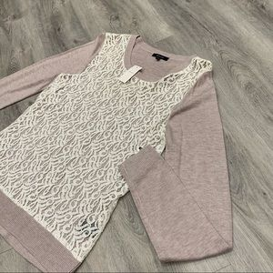 RW & CO. Long Sleeve Off-Pink Over-Shirt/Sweater